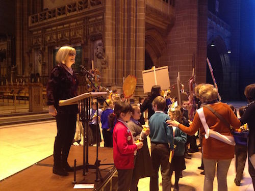 Sheila Wilson working with schools at Leeds Cathedral in