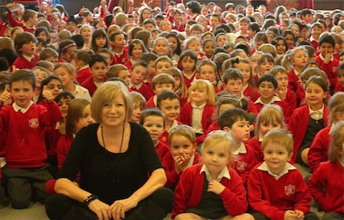 Sheila working with Lent Rise School in Burnham, on a School Song for the children.